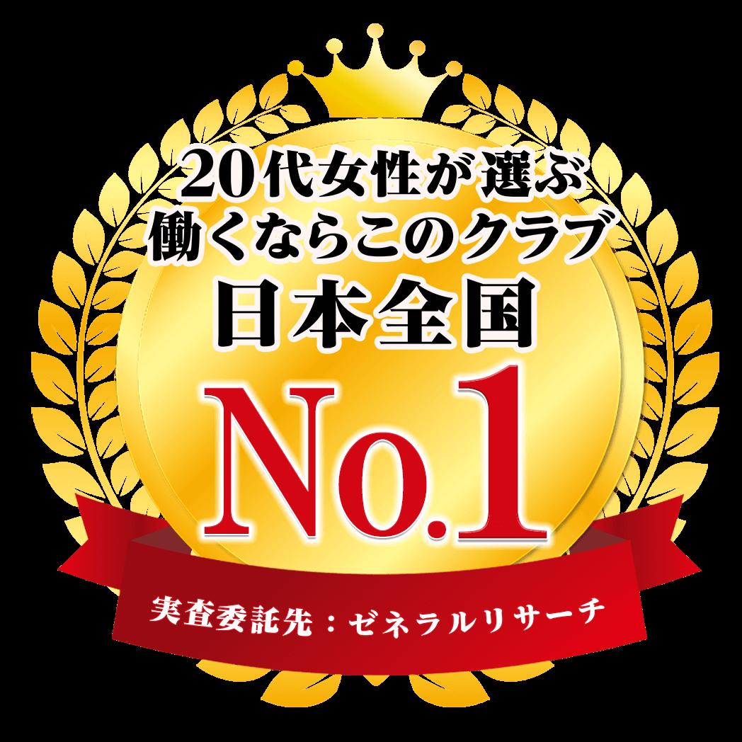 20代女性が選ぶ働くならこのクラブ日本全国No.1 実査委託先:ゼネラルリサーチ